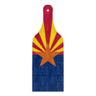 Glass cutting board paddle with flag of Arizona