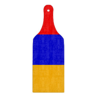 Glass cutting board paddle with flag of Armenia