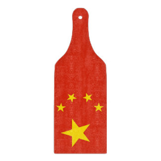 Glass cutting board paddle with flag of China