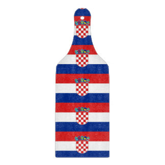 Glass cutting board paddle with flag of Croatia