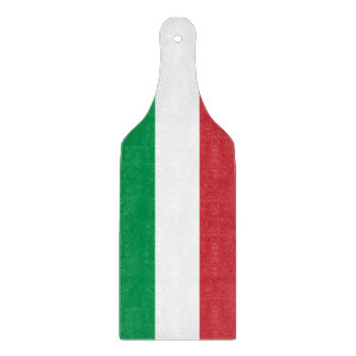 Glass cutting board paddle with flag of Italy
