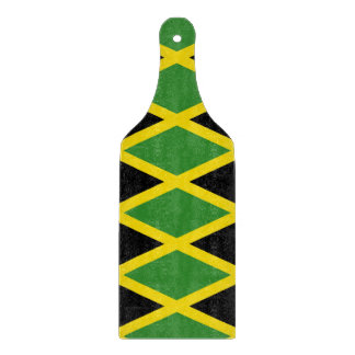 Glass cutting board paddle with flag of Jamaica