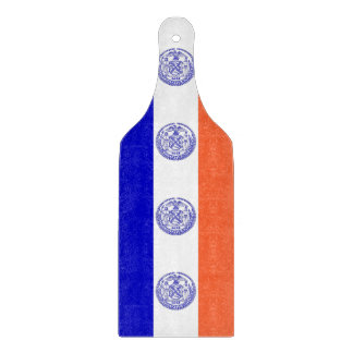 Glass cutting board paddle with New York City flag