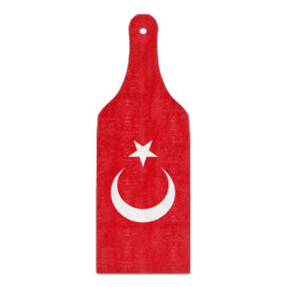Glass cutting board paddle with Turkey flag