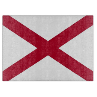 Glass cutting board with Flag of Alabama State