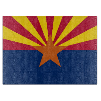 Glass cutting board with Flag of Arizona State