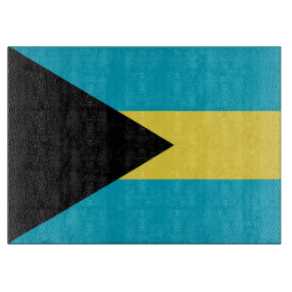 Glass cutting board with Flag of Bahamas