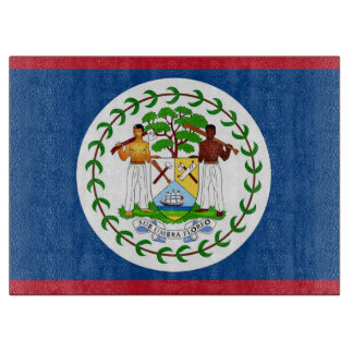 Glass cutting board with Flag of Belize