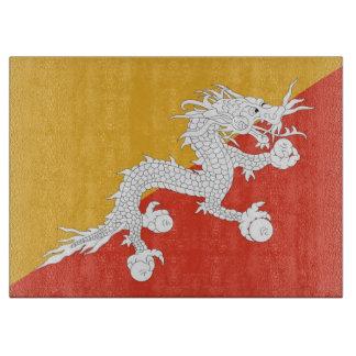 Glass cutting board with Flag of Bhutan