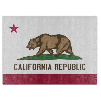 Glass cutting board with Flag of California State