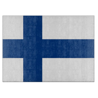 Glass cutting board with Flag of Finland