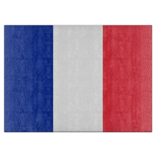 Glass cutting board with Flag of France