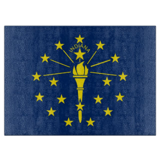 Glass cutting board with Flag of Indiana, USA