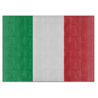 Glass cutting board with Flag of Italy