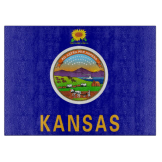 Glass cutting board with Flag of Kansas, USA