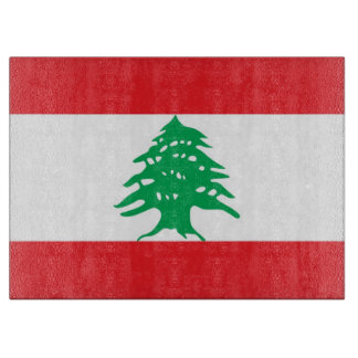 Glass cutting board with Flag of Lebanon