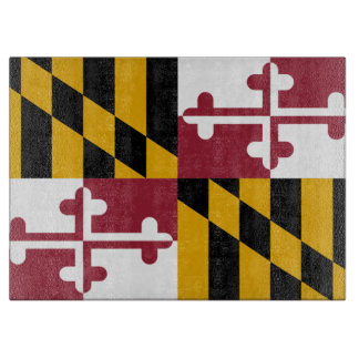 Glass cutting board with Flag of Maryland, USA