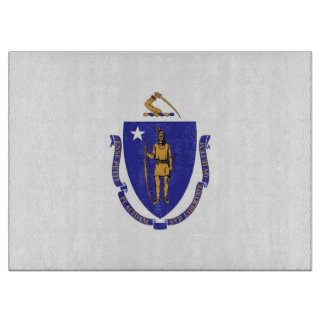 Glass cutting board with Flag of Massachusetts USA