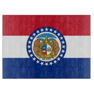 Glass cutting board with Flag of Missouri USA