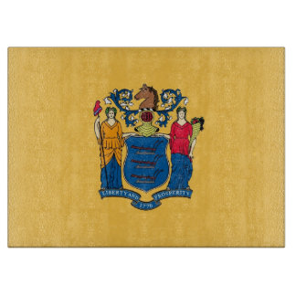 Glass cutting board with Flag of New Jersey USA