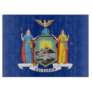 Glass cutting board with Flag of New York, USA