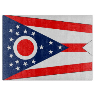 Glass cutting board with Flag of Ohio, USA