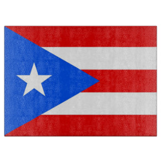 Glass cutting board with Flag of Puerto Rico, USA