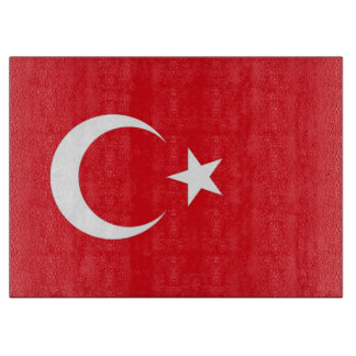 Glass cutting board with Flag of Turkey