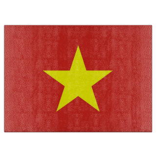 Glass cutting board with Flag of Vietnam