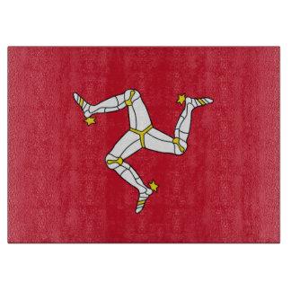 Glass cutting board with  Isle Of Man Flag
