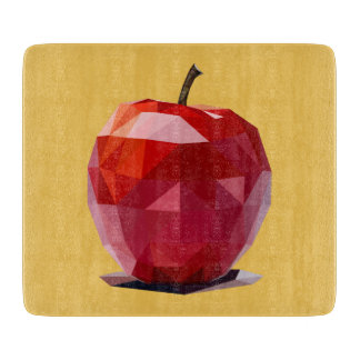 Glass Cutting Board with Red Apple Design