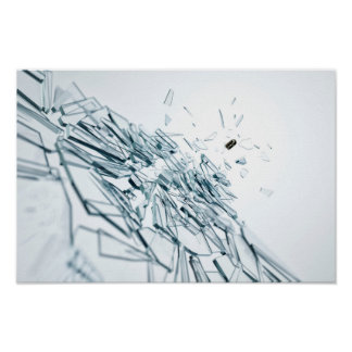 glass damaged by a bullet poster