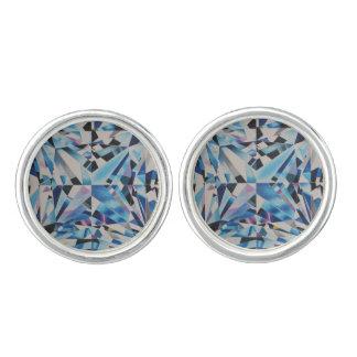 Glass Diamond Round Cufflinks, Silver Plated Cufflinks