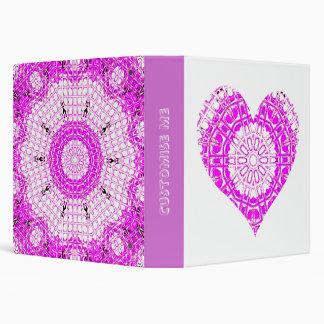 Glass Effect Mosaic Pink (Heart) 3 Ring Binders