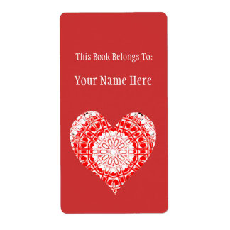 Glass Effect Mosaic Red/White (Heart) Shipping Label