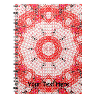 Glass Effect Mosaic Red/White Spiral Notebooks