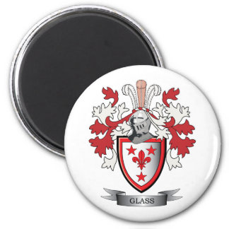 Glass Family Crest Coat of Arms 2 Inch Round Magnet