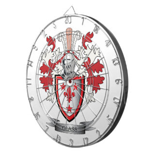 Glass Family Crest Coat of Arms Dart Board