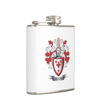 Glass Family Crest Coat of Arms Hip Flask