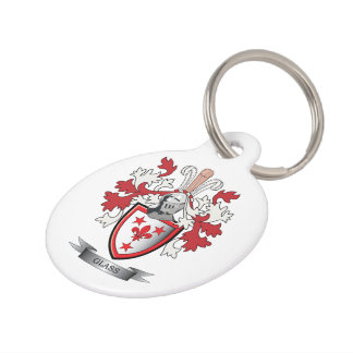 Glass Family Crest Coat of Arms Pet Name Tag