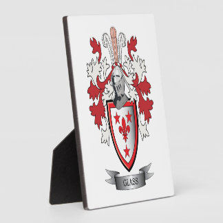 Glass Family Crest Coat of Arms Plaque