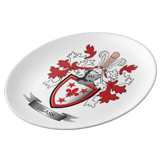 Glass Family Crest Coat of Arms Plate