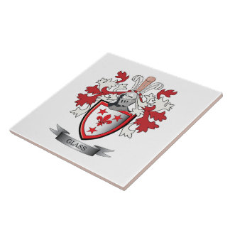 Glass Family Crest Coat of Arms Tiles