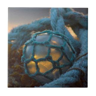 Glass fishing float, Sunset, Alaska Ceramic Tiles