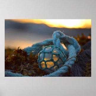 Glass fishing float, Sunset, Alaska Poster