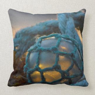 Glass fishing float, Sunset, Alaska Throw Pillow