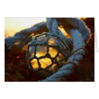 Glass float glows at sunset, Alaska Card