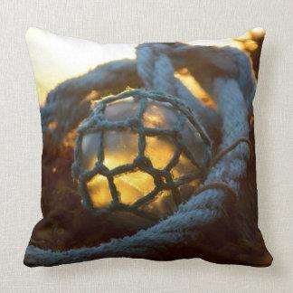 Glass float glows at sunset, Alaska Throw Pillow