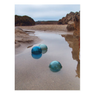 Glass floats on receding water postcard