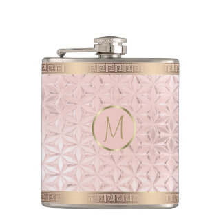 Glass Geometric Borders Monogram Rose Gold ID412 Hip Flask
